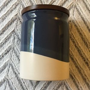 Blue and White Stoneware Crock Canister w/ Lid